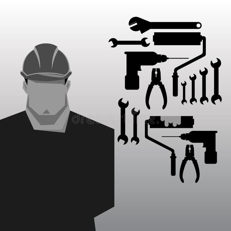 Riparazioni, costruttore della costruzione in casco giallo che lavora con differenti strumenti engineer Operaio Illustrazione pia royalty illustrazione gratis