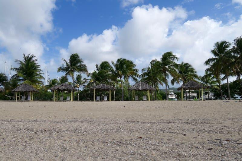 Ripari del parasole su Sandy Beach immagine stock