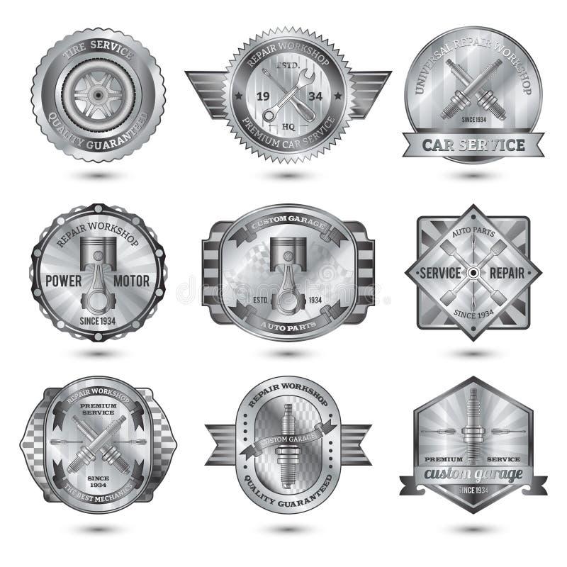Ripari gli emblemi del metallo dell'officina messi illustrazione vettoriale