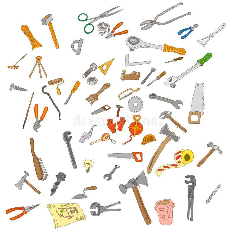 Ripari gli strumenti Ritocchi gli strumenti insieme dell'annata fotografie stock