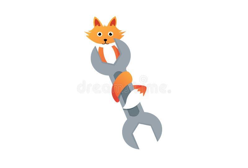 Ripari il logo dell'agenzia della volpe illustrazione vettoriale