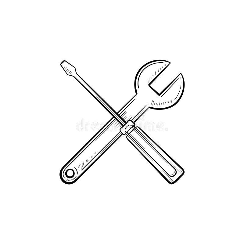 Ripari l'icona disegnata a mano di scarabocchio del profilo degli strumenti illustrazione di stock