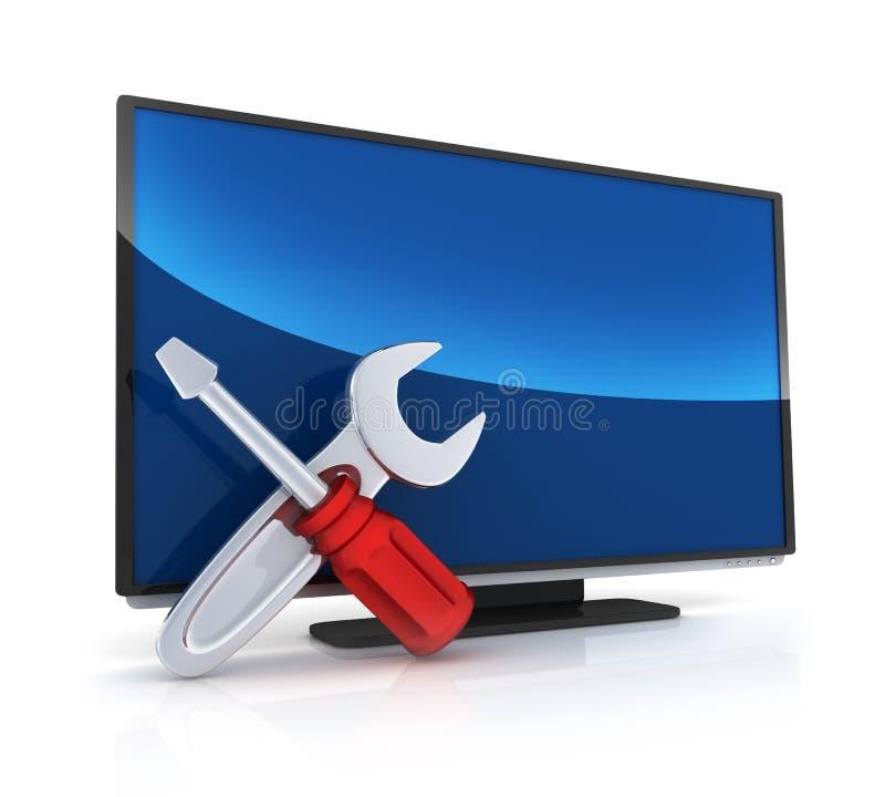 Ripari la TV e controlli illustrazione di stock