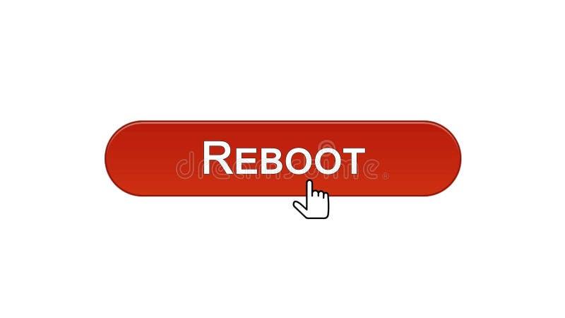 Riparta il bottone dell'interfaccia di web cliccato con il cursore del topo, il rosso di vino, progettazione del sito illustrazione vettoriale