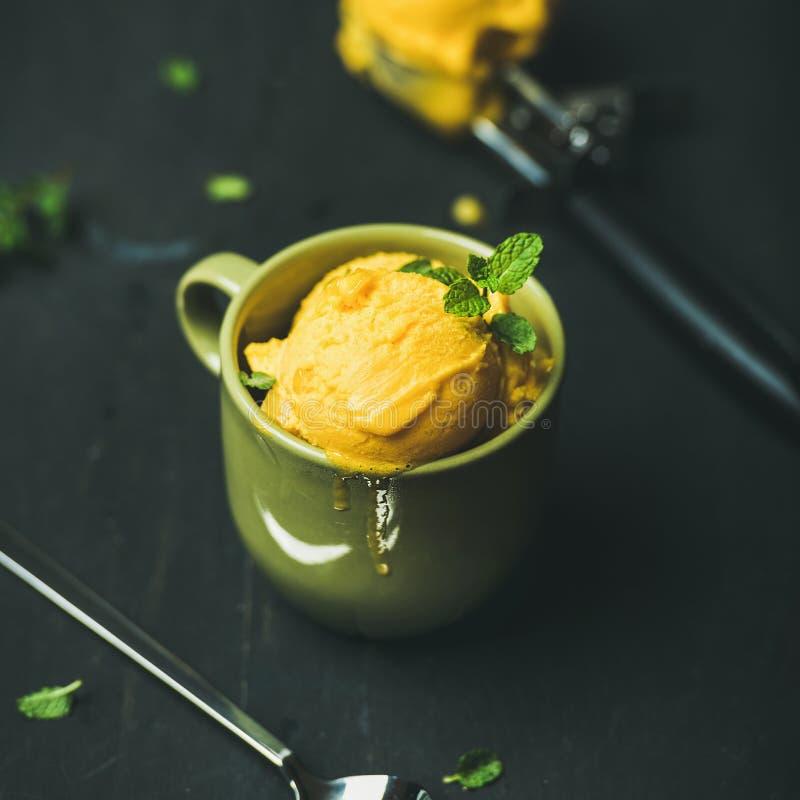 Ripartitori del sorbetto del mango con le foglie di menta fresca fotografia stock