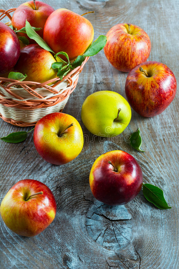 Ripe apples in the basket, top view royalty free stock image