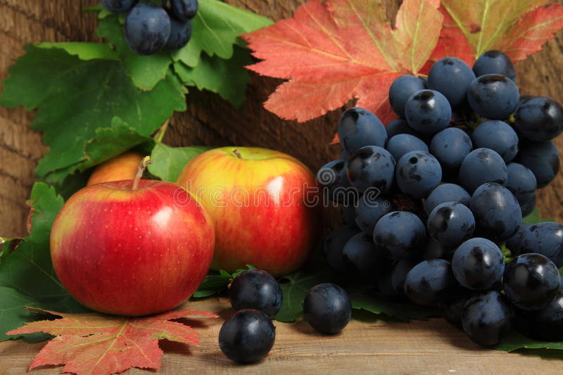 Ripe apples and bunch of grapes stock image
