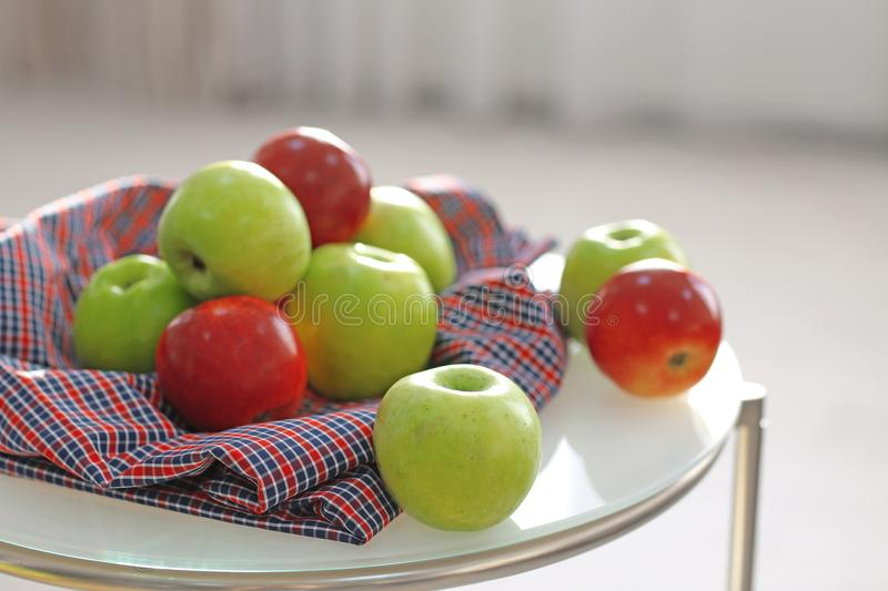 Ripe apples on table royalty free stock photo