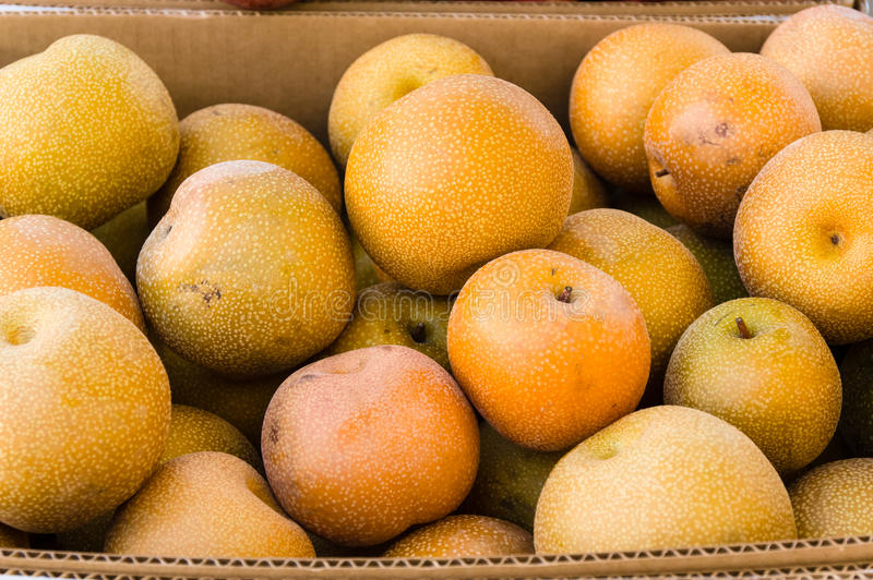 Ripe Asian pears at the market royalty free stock images