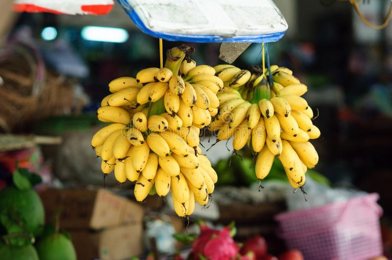 Ripe banana fruit in the street market. Vietnam stock photography