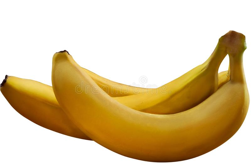 Ripe bananas in peel, isolated image on white background royalty free stock photography