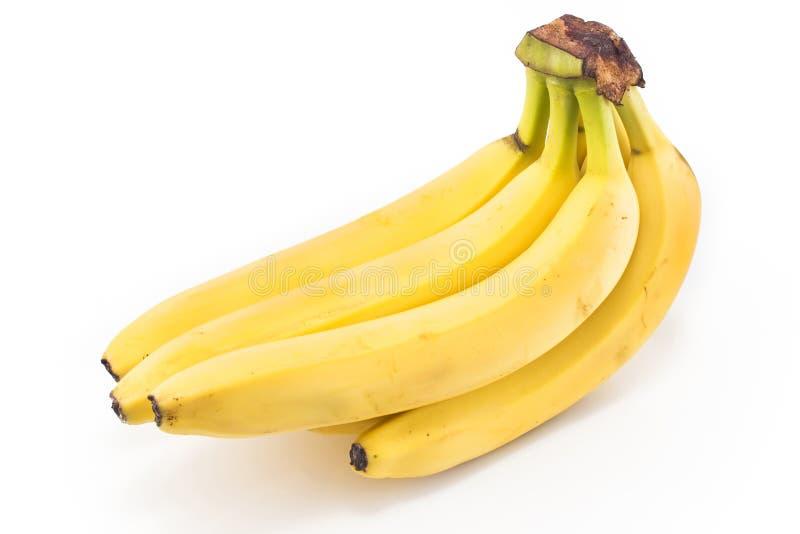 Ripe bananas on white royalty free stock photos