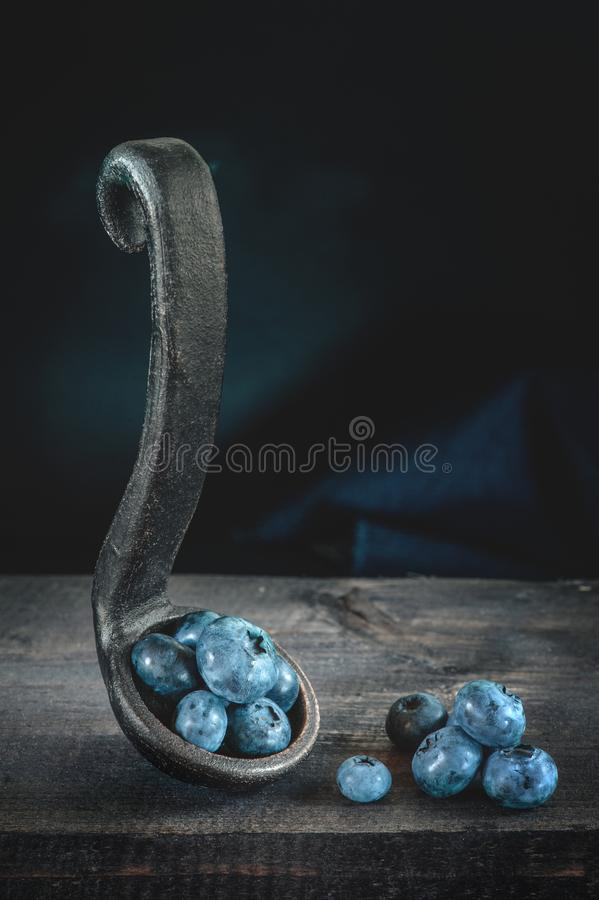 Ripe blueberries in a pot with a clay handle on a wooden background. Art, low key. Copy space.  royalty free stock photography
