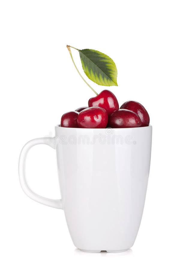 Ripe Cherries In A Cup Royalty Free Stock Photography