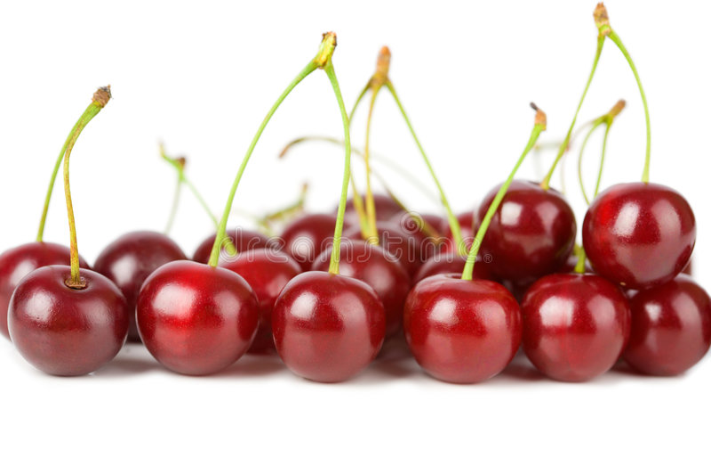 Ripe cherries isolated stock photos