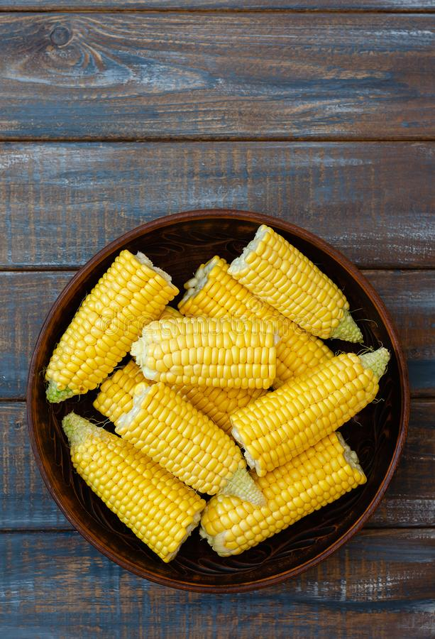 Ripe corn in a clay bowl. royalty free stock photo