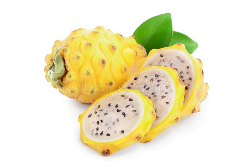 Ripe Dragon fruit, Pitaya or Pitahaya yellow isolated on white background, fruit healthy concept.  royalty free stock images