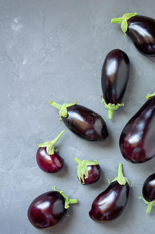 Ripe eggplants of different sizes on a gray concrete background. Top view. stock images