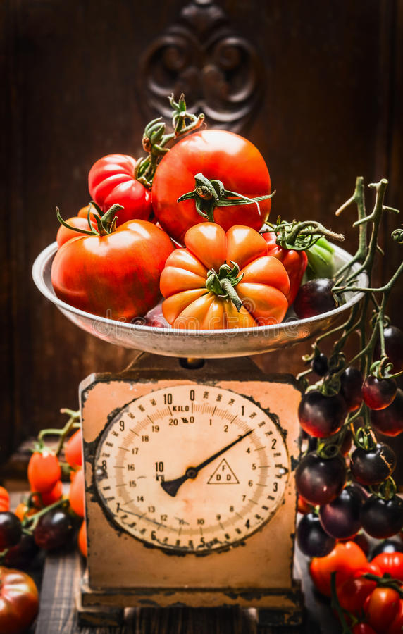 Ripe farm tomatoes on vintage scales, kitchen still life scene. stock photo