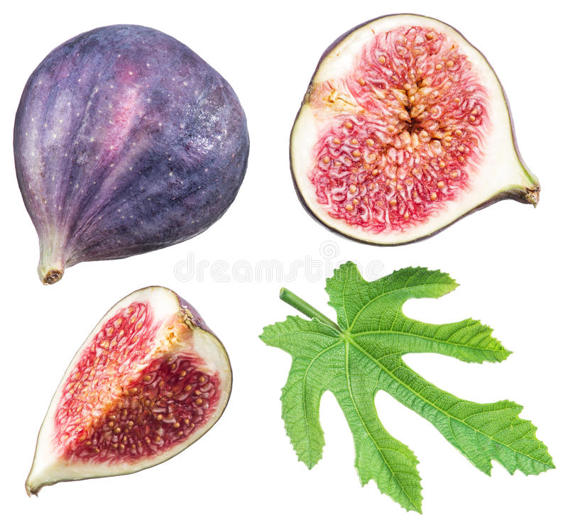 Ripe fig fruits and leaf. royalty free stock photos