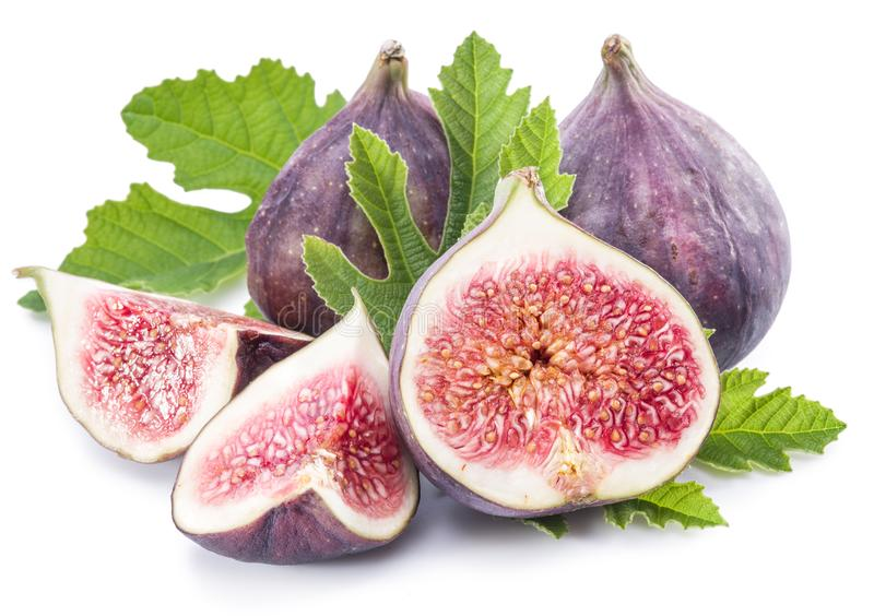 Ripe fig fruits on the white background stock photos
