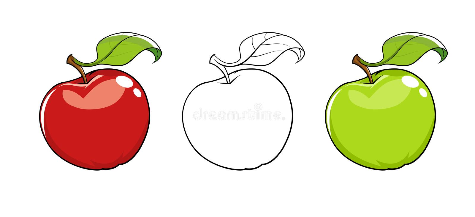 Ripe fresh apple with leaf. Set of vector illustration. White background. Red apple. Green fruits. Healthy food royalty free illustration
