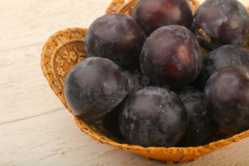 Ripe fresh plums stock images