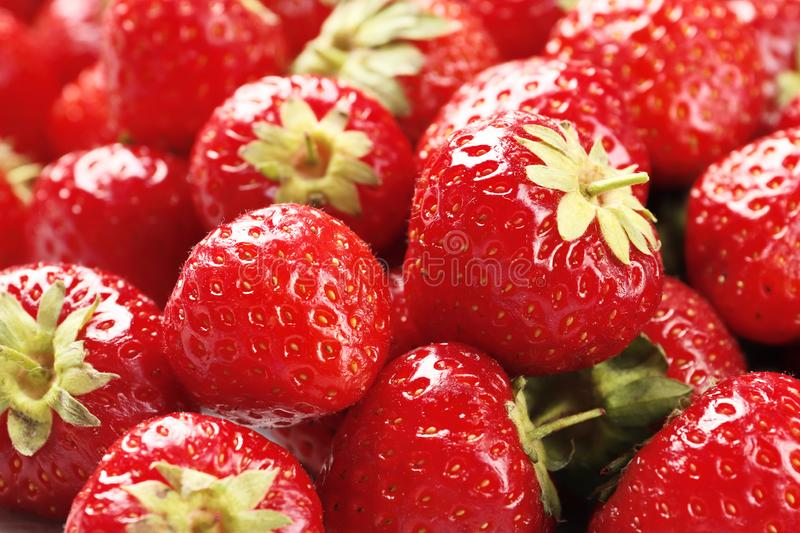Ripe fresh strawberries as background close-up stock photo