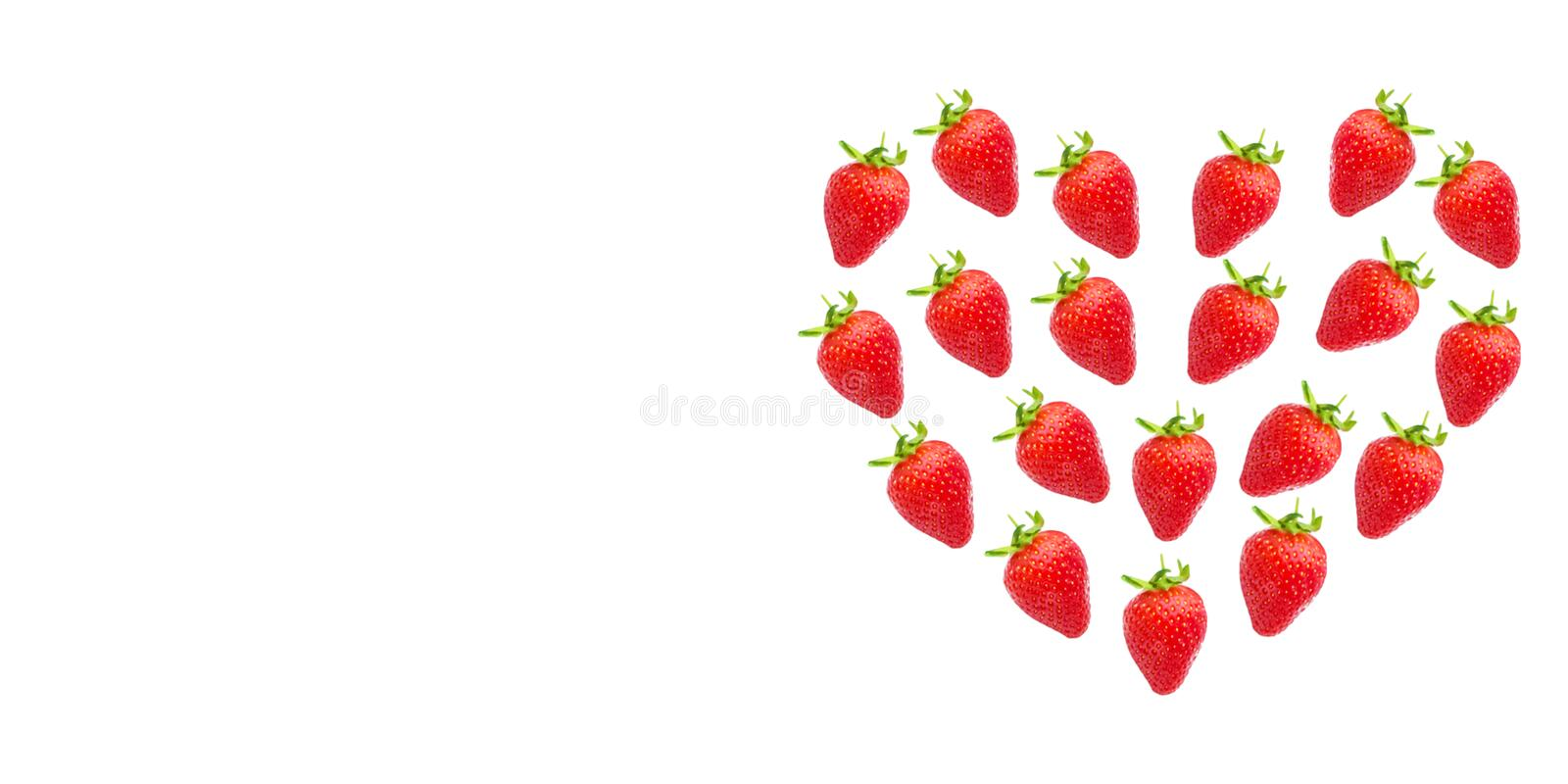 ripe fresh strawberries in the shape of a heart stock images