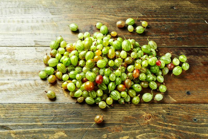 Ripe gooseberry space for text. Gooseberries scattered on a wooden background, top view, space for text royalty free stock photography