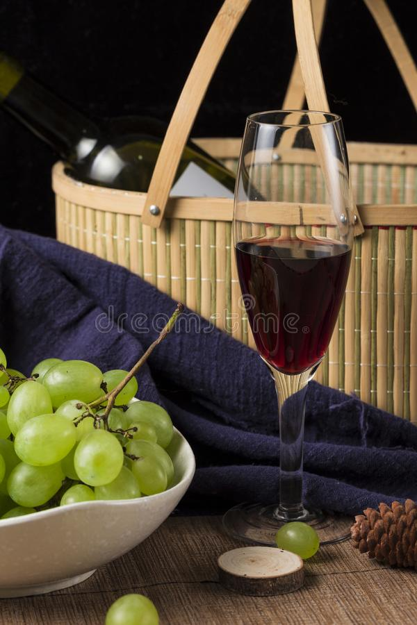 Grapes and wine. Ripe grapes and delicious wine royalty free stock photo
