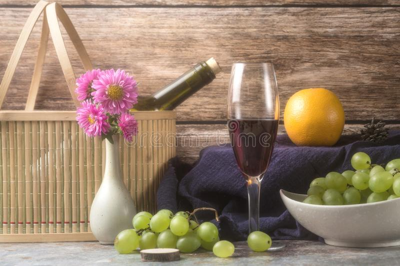 Grapes and wine. Ripe grapes and delicious wine stock photos