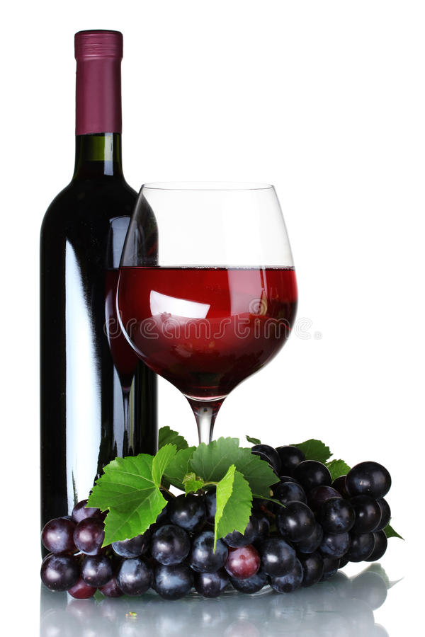 Download Ripe Grapes, Wine Glass And Bottle Of Wine Stock Photo - Image: 20945878