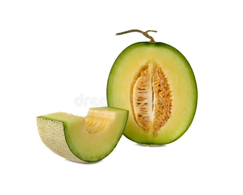 Ripe green cantaloupe melon with stem on white. Background royalty free stock photography