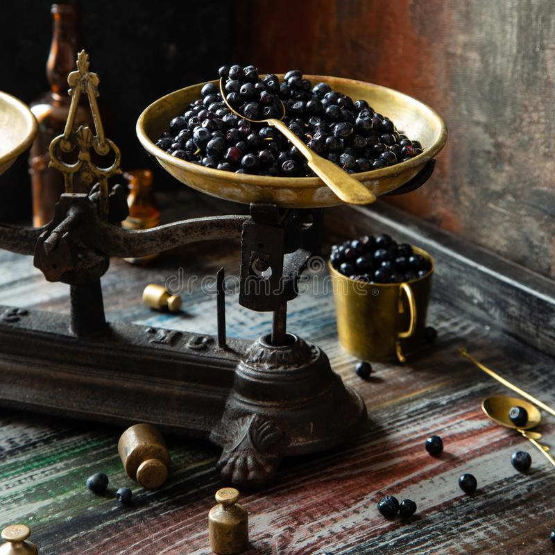 Ripe juicy dark blue berries on brass plate on vintage black scales. With golden spoon on wooden rustic table with gold cup of berries, spoons, weights opposite stock photography