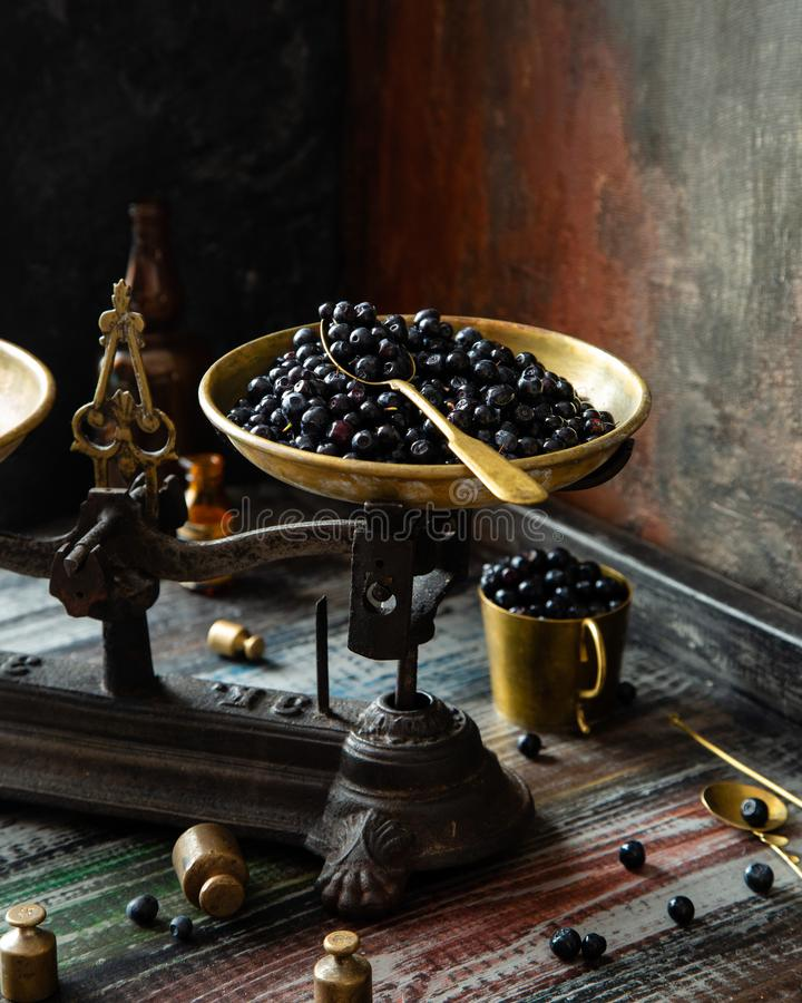 Ripe juicy dark blue berries on brass plate on vintage black scales. With golden spoon on wooden rustic table with gold cup of berries, spoons, weights opposite royalty free stock image