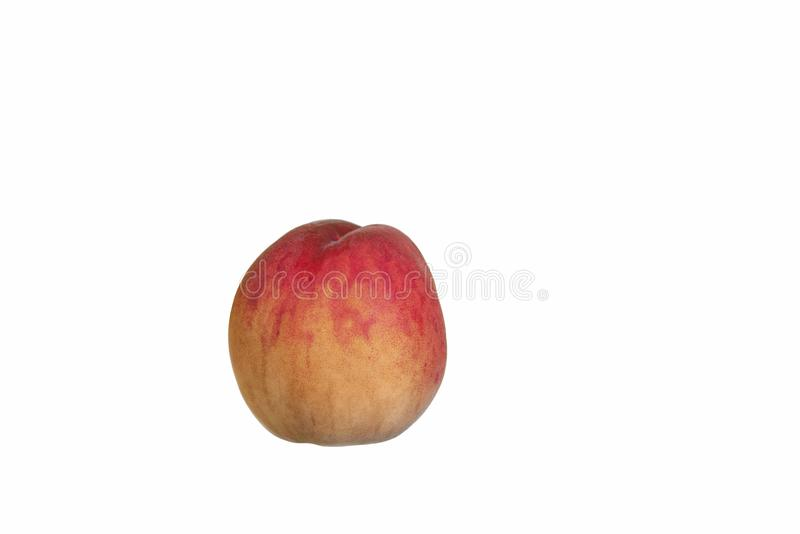 Ripe, juicy fruits of peaches isolated on white stock images