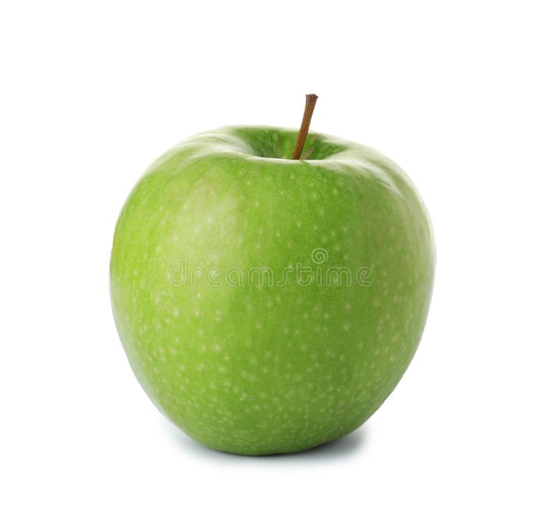 Ripe juicy green apple. On white background royalty free stock photography
