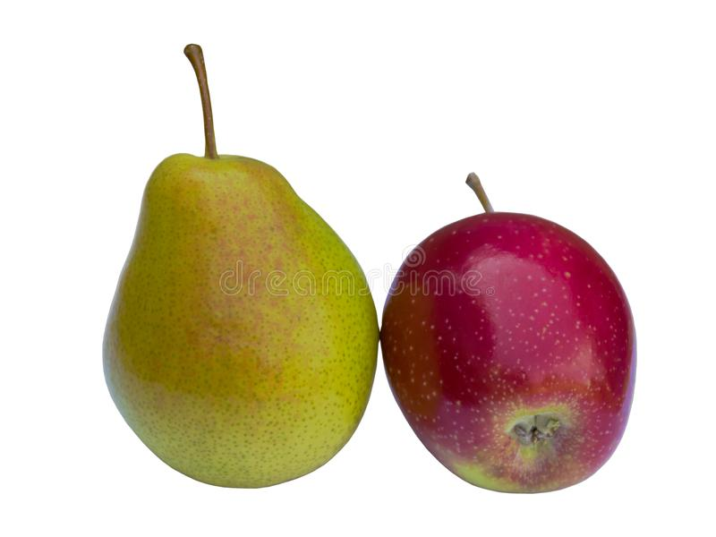 Ripe and juicy pear and apple. Vitamin Fruits. Harvesting in the fall. The fruits are delicious.r royalty free stock photography