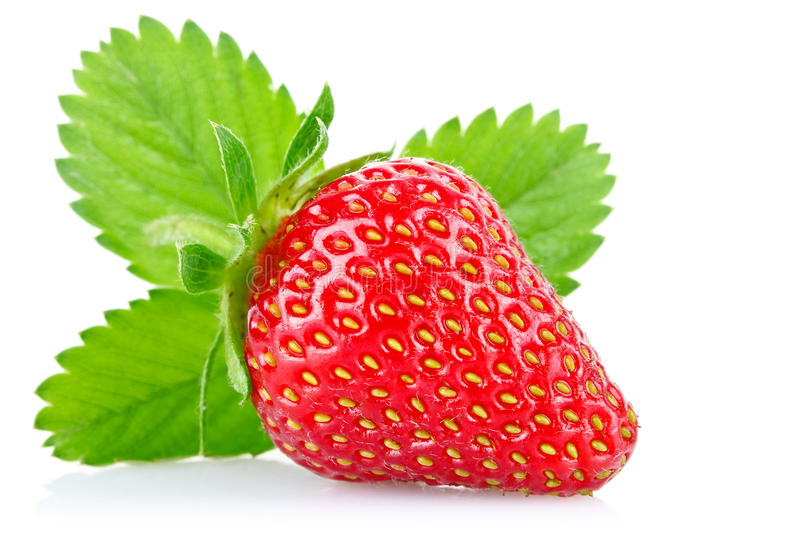 Ripe juicy strawberry with green leaves stock images