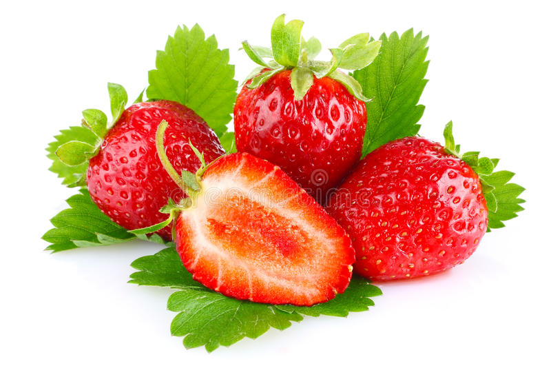 Ripe juicy strawberry with green leaves royalty free stock photo