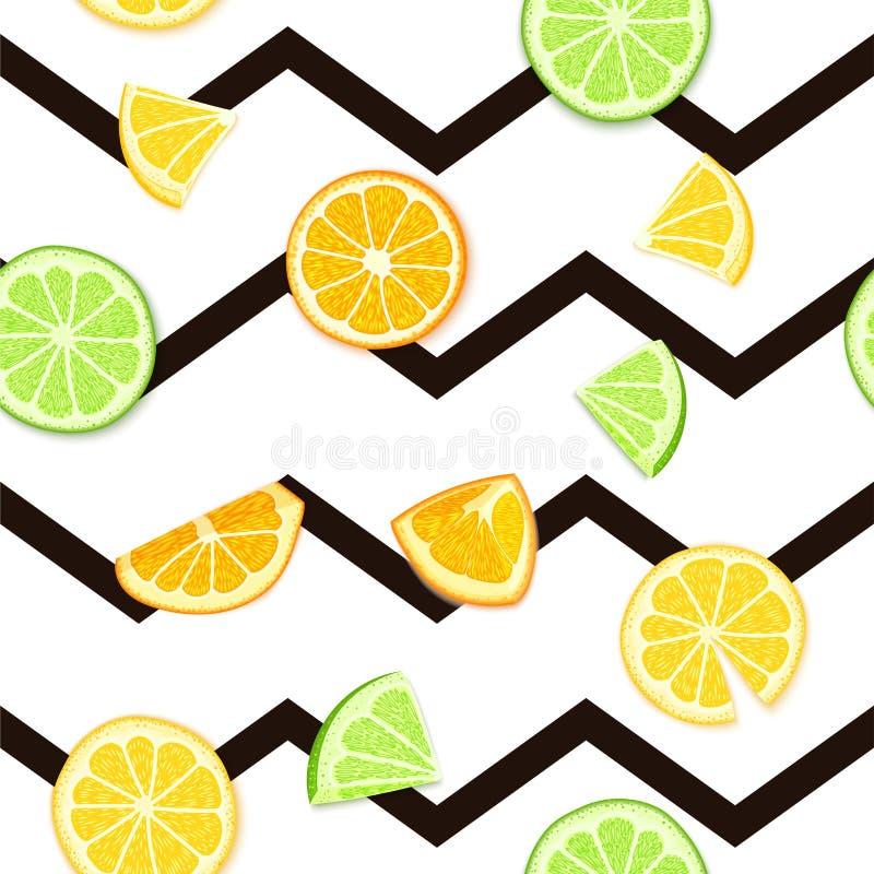 Ripe juicy tropical fruit striped seamless background. Vector card illustration. Fresh citrus lime orange lemon fruit on royalty free illustration