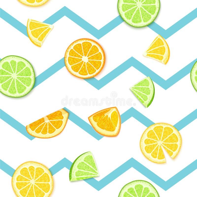 Ripe juicy tropical fruit striped seamless background. Vector card illustration. Fresh citrus lime orange lemon fruit on. Blue lines. Seamless pattern for royalty free illustration