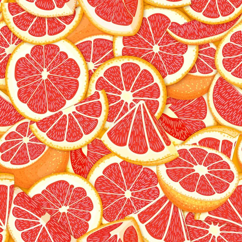 Ripe juicy tropical grapefruit background. Vector card illustration. Closely spaced fresh citrus red pomelo fruit piece. Of half, slice. Seamless pattern for stock illustration