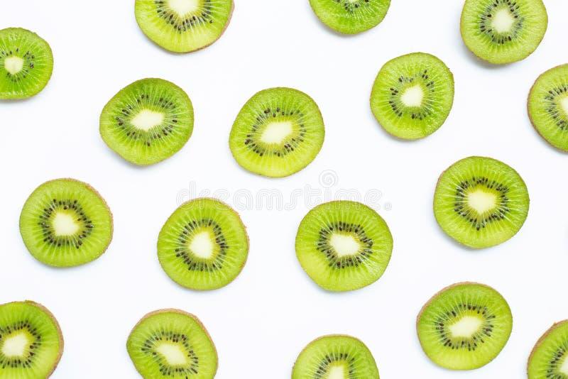 Ripe kiwi fruit slices isolated on white. Background stock images