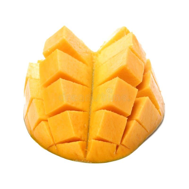 Ripe mango, cube cut. Isolate on white background royalty free stock image