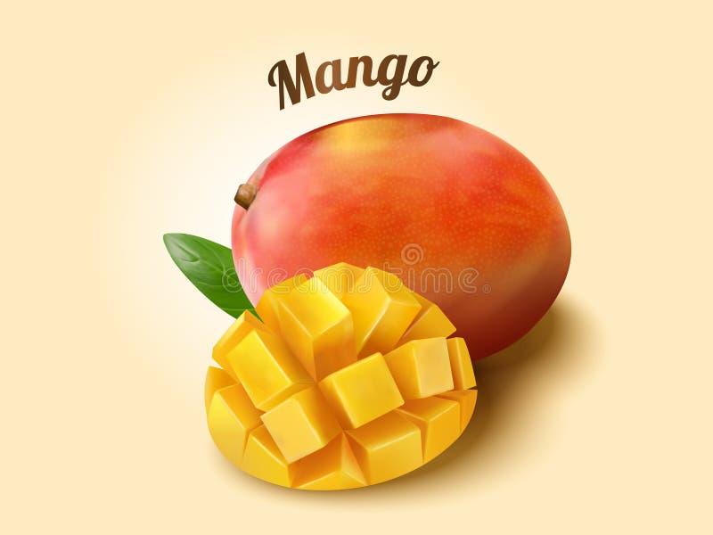 Ripe mango fruit. And cubes in 3d illustration stock illustration