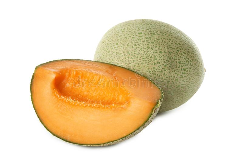 Ripe melons on background. Ripe melons on white background royalty free stock photos