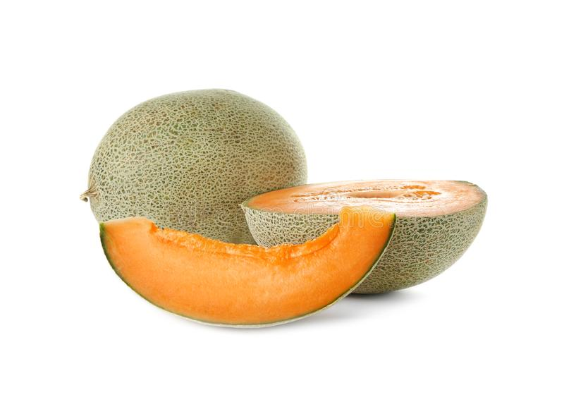 Ripe melons on background. Ripe melons on white background royalty free stock photography