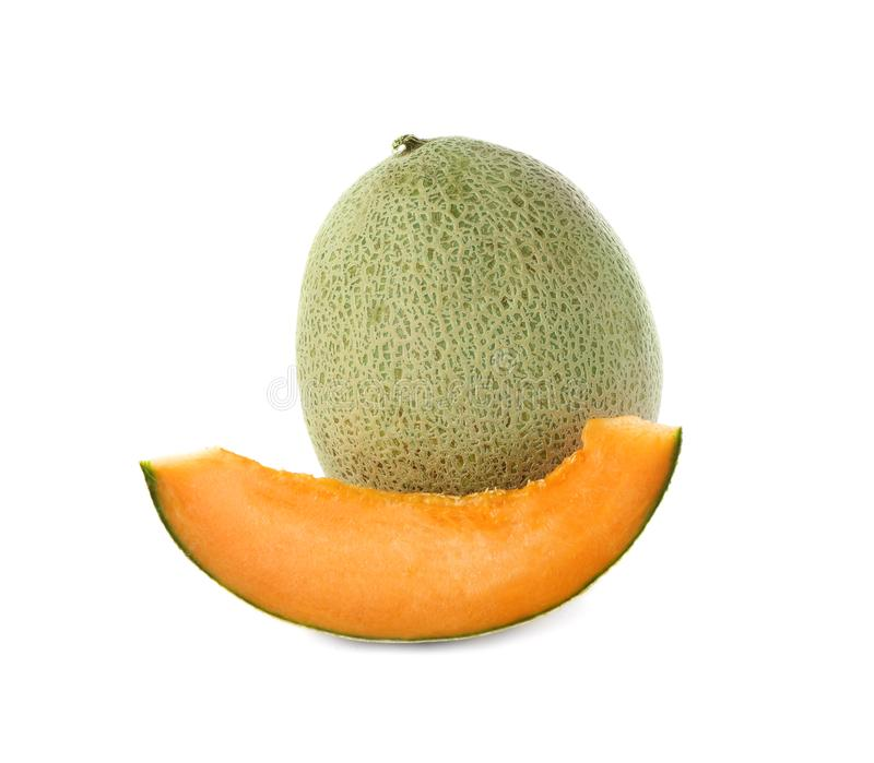 Ripe melons on background. Ripe melons on white background royalty free stock image